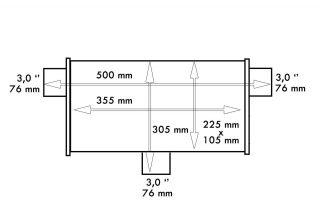 """TW TL 119d - Sisteme de esapament - Sisteme de esapament - Magazin sisteme de eșapament - Tobă eșapament TurboWorks Dual 2.25"""" Elipsa, inlet 57mm, outlet 57mm"""